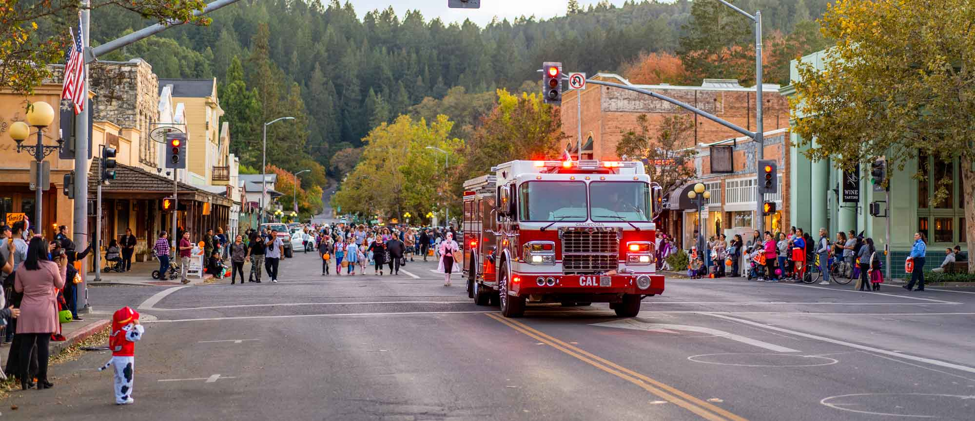 fire truck on Lincoln Ave in Calistoga